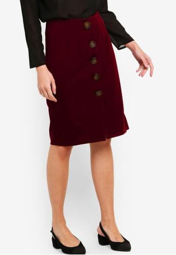 ZALORA red High Waist Open Slit Skirt 28066AA9B9919CGS_1