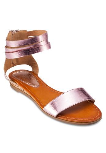 繞踝zalora開箱拉鍊平底涼鞋, 女鞋, 涼鞋