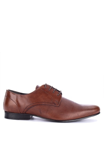 Topman brown Tan Leather Brent Embossed Derby Shoes EBE5FSH900D442GS_1