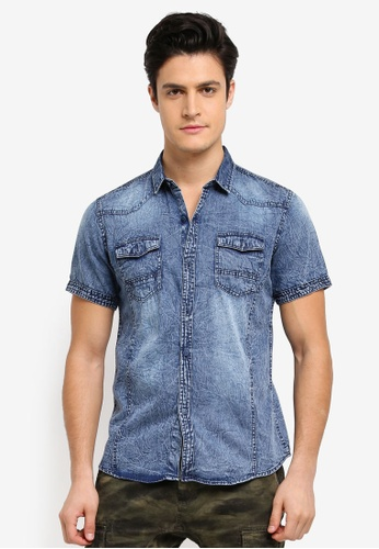 Fidelio blue Acid Washed Denim Short Sleeves Shirt 852CBAA51EA894GS_1