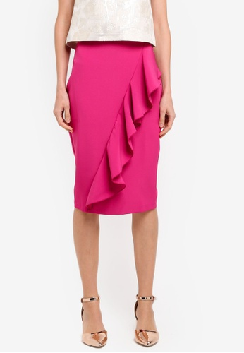Vesper pink Vesper Antonia Midi Skirt With Frill Detail VE733AA0SM2CMY_1