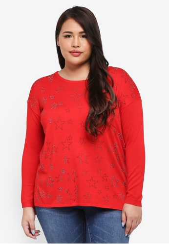 Goddiva red Plus Size Long Sleeved Star Jumper AC201AABA0A4C0GS_1