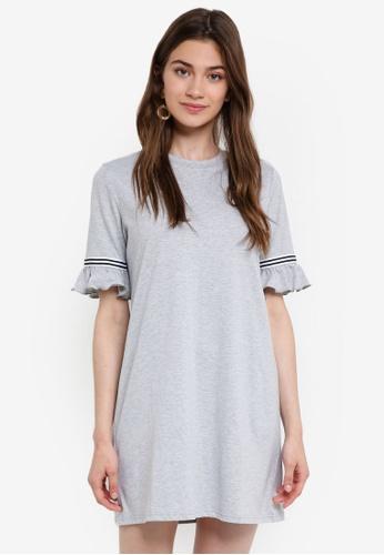 Something Borrowed grey Stripe Trim Flare Sleeves Dress 2D176AAE5BC66CGS_1