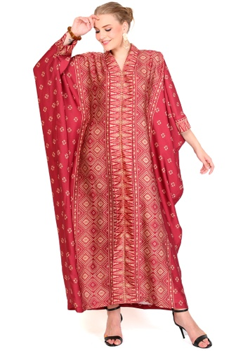 Kanzi by liza yahya red Kanzi Exclusive Long Sleeve Songket Kaftan 1B808AA4D62F95GS_1