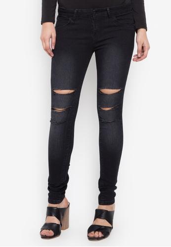 Balaynor black Fashion Skinny Ripped Jeans 503E9AA9564282GS_1