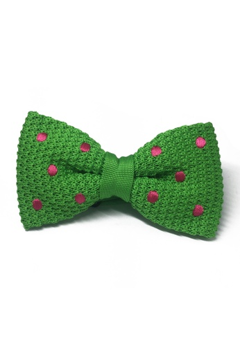 Splice Cufflinks green Webbed Series Bright Pink Polka Dots Green Knitted Bow Tie SP744AC73UBYSG_1