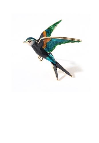 Glamorousky silver Fashion and Elegant Plated Gold Enamel Green Swallow Brooch 3F9B3ACCCBD972GS_1
