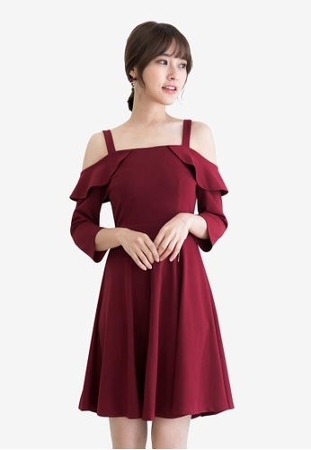 Tokichoi red Off Shoulder Flounce Dress 36EC2AA5ABF525GS_1