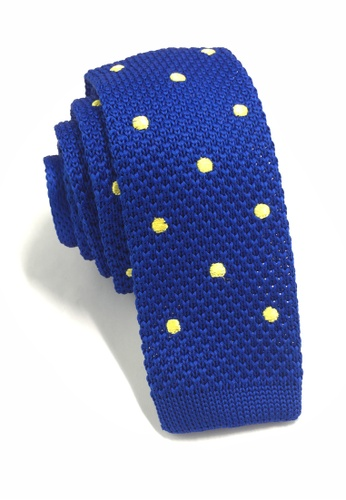 Splice Cufflinks Weave Series Yellow Polka Dots Bright Blue Knitted Tie SP744AC67KUASG_1