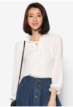 Long Sleeve Blouse with Ruffled Collar