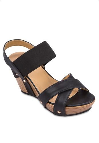 交叉帶salon esprit 香港繞踝楔形鞋, 女鞋, 鞋