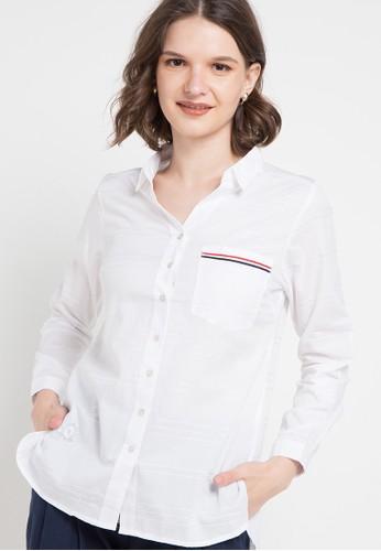 Le'Rosetz white Cotton White Embroidery Shirt 389D4AA87643F5GS_1