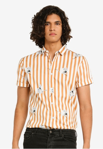 River Island 白色 條紋修身襯衫 D597CAAE8F8E9FGS_1
