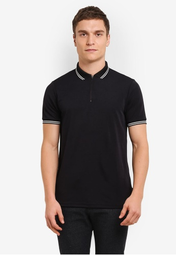 Burton Menswear London black Black Smart Zip Neck Polo Shirt BU964AA0S9QSMY_1