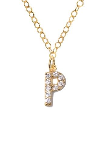 PSYNDROME gold Personalised Initial Letter Alphabet Cubic Zirconia Necklace - P A2D94AC55DE2A7GS_1