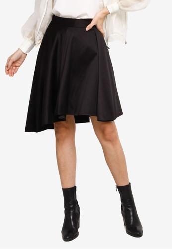 Hopeshow black Ruffle Asymmetrical Hem Short Skirt C23DAAAE848FE8GS_1