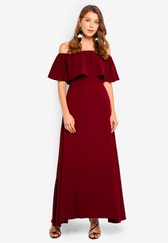 Preen & Proper red Off Shoulder Maxi Dress 78F14AA9780086GS_1