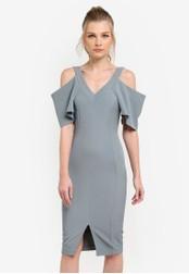 Vesper green Alia Crepe Cold Shoulder Pencil Dress VE733AA0S785MY_1
