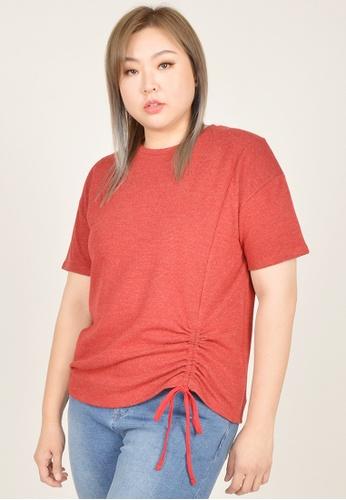 Cheetah red Arissa Plus Size Short Sleeve Ruching Top - ARS-9640 13AF1AA4E58B2BGS_1