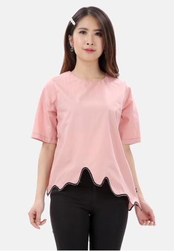 MKY Clothing pink MKY Wave Embroidery Blouse 5252DAAF0E22A1GS_1