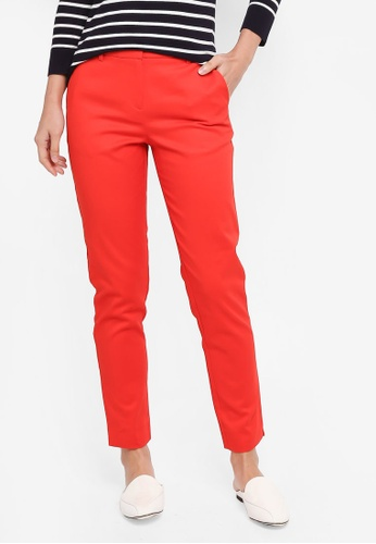 WAREHOUSE red Compact Cotton Trousers 86AD8AA2D68A90GS_1
