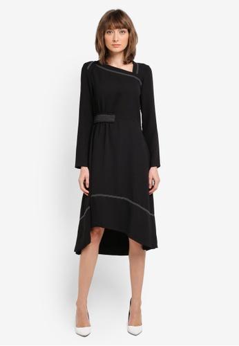 Mango black Contrast Seam Dress MA193AA0T0XEMY_1
