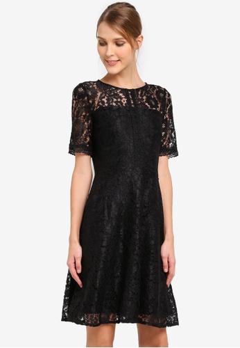 Wallis black Black Lace Fit And Flare Dress WA800AA0SP8VMY_1