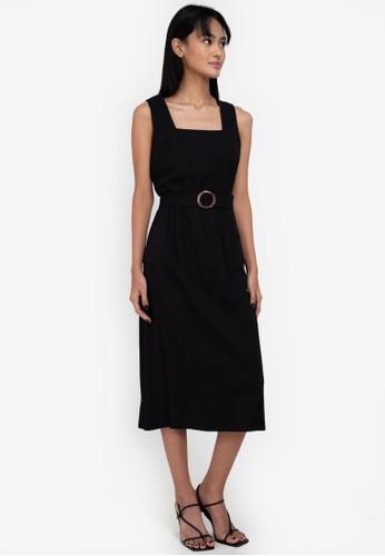 ZALORA BASICS black Belted Midi Dress 55D25AAC0EBB42GS_1