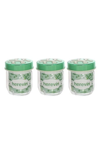 Herevin Herevin 3 Pcs 425ML Canister Set / Container Set / Jar Set / Kitchen Organizers Set / Balang Kaca - Green / Pink / Purple F4127HL6C89684GS_1