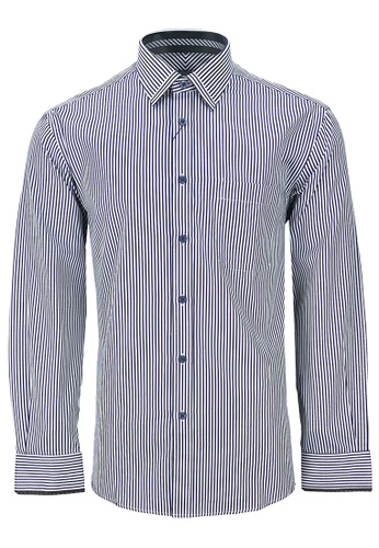 Pacolino white and blue Casual-Smart Long Sleeves Shirt PA995AA50CPHMY_1