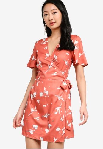 ZALORA BASICS pink Short Sleeve Wrap Mini Dress A7CECAA14EA1C9GS_1