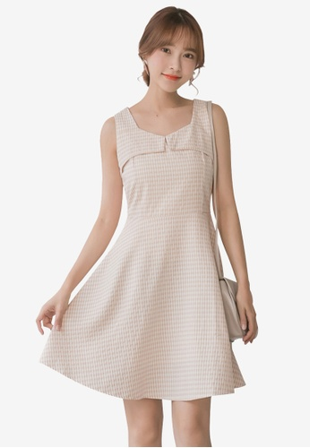 Tokichoi beige Sleeveless Plaid A-Line Dress 25B50AA12B8302GS_1