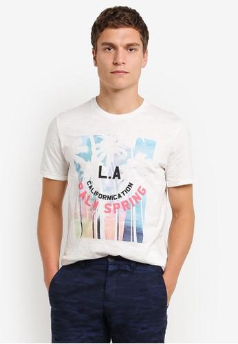 MANGO Man white Printed Cotton T-Shirt MA449AA0RMKAMY_1