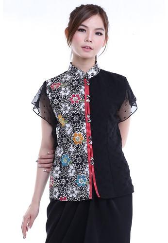 DhieVine Batik black and red and multi Karindra Kembang Batik Blouse Cheongsam 86589AA9208C5BGS_1