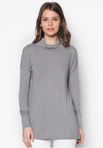 反褶高領長版織衫,zalora taiwan 時尚購物網 服飾, 上衣