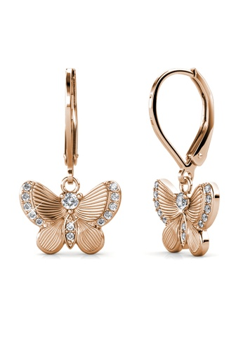Her Jewellery gold Chrysalis Butterfly Earrings (Rose Gold) -  Embellished with Crystals from Swarovski® 7BF82ACAAE156BGS_1