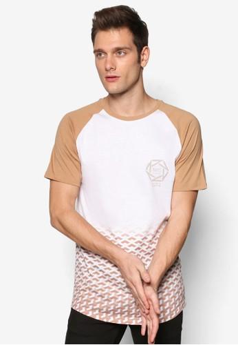 褪色圖形插肩短袖TEE, 服飾zalora 評價, 服飾