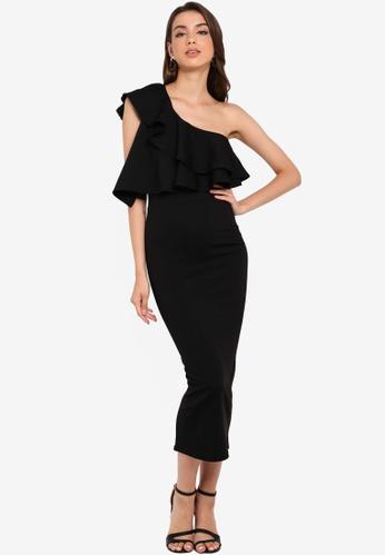 e90e15fe8 MISSGUIDED black One Shoulder Ruffle Bodycon Midi Dress 2AD17AA5DE3D8BGS_1