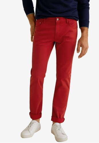 Mango Man 紅色 Slim-Fit 5 Pocket Cotton Trousers 3A724AA3F36215GS_1