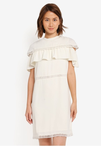 ZALORA white Studio Mini Cape Cold Shoulder Dress 046D2AA47FD66BGS_1