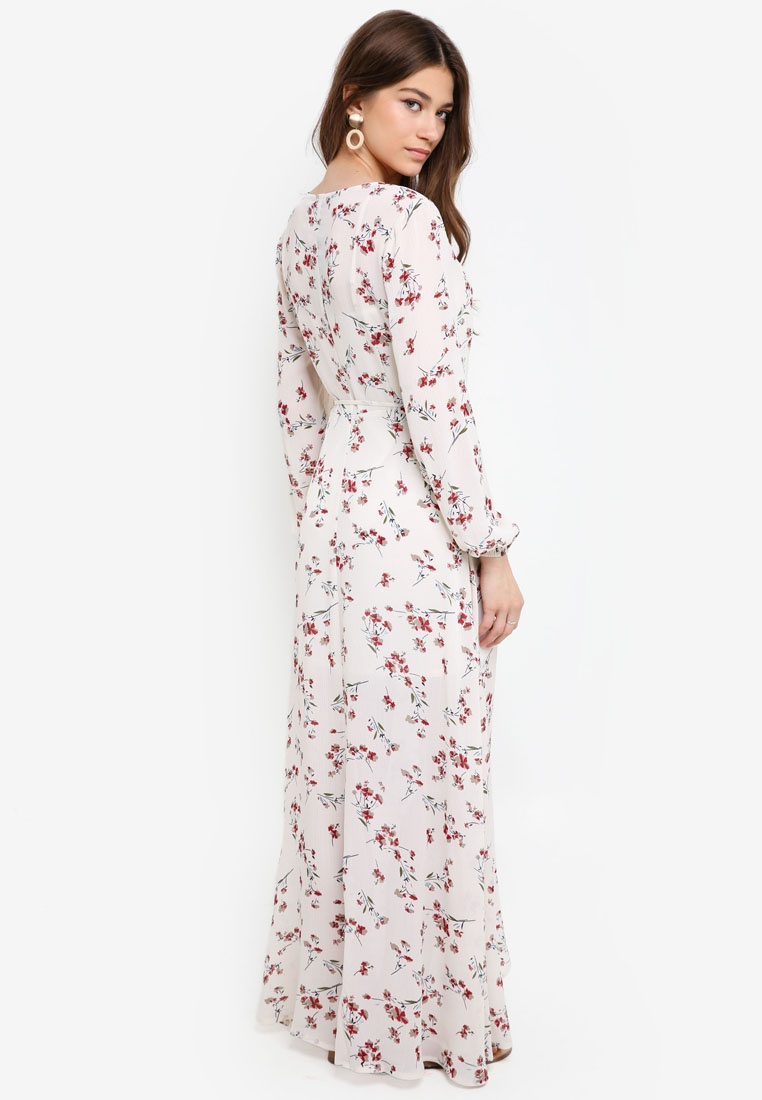 Wrap Borrowed 1 Based Something White Print Dress 2 Maxi in qxSwRHpP