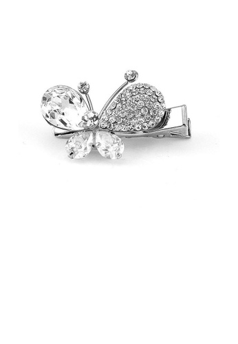 Glamorousky silver Charming Butterfly Barrette with Silver Austrian Element Crystal 9DBEAAC90FD86BGS_1