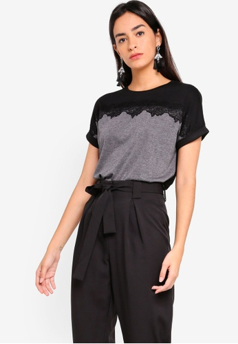 ZALORA grey Extended Sleeves Tee With Lace Panel CBFD1AA52CD397GS_1