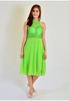 Aw Midi with Lace Combination Halter