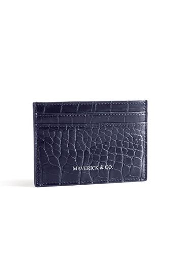 Maverick & Co. Maverick & Co. Sirius 鱷魚紋名片夾 - 深海藍 753F2AC22CC9A6GS_1