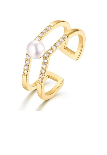 SUNSET 金色 Premium 9K Plate Gold  Pearl Ring DCDE4ACFC21C52GS_1