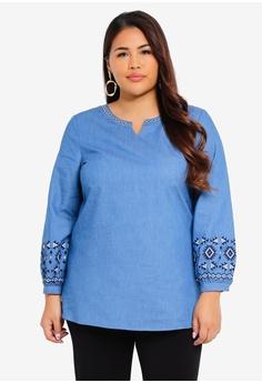 51e4c92f28 TOPGIRL blue Plus Size Embroidered Denim Blouse CEEB7AAD7A76B7GS 1