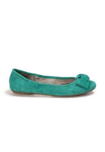 Shu Talk 綠色 AMAZTEP 全新貼腳柔軟蝴蝶結真皮芭蕾舞鞋 80F79SH5216A8EGS_1