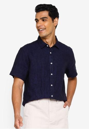Banana Republic navy Short Sleeve Linen Shirt 15107AAA940276GS_1