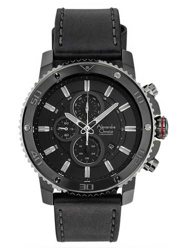 Alexandre Christie black Alexandre Christie Jam Tangan Pria - Black Grey - Leather Strap - 6509 MCLEPBA 1838CACAE822E2GS_1